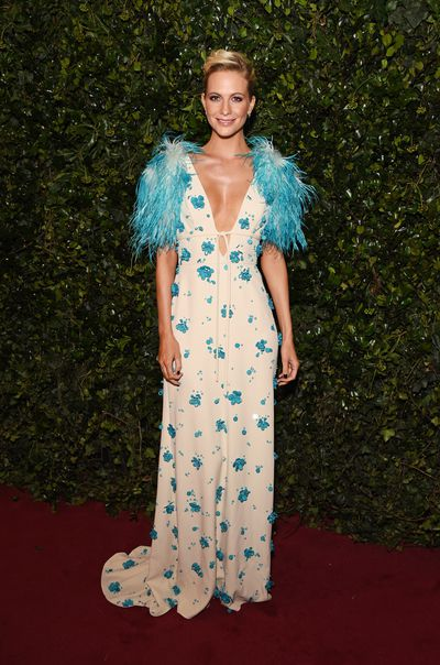 Poppy Delevingne in Prada at the London Evening Standard Theatre Awards.