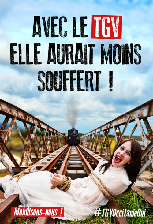 A French court has ruled the controversial poster of a woman tied to train tracks is legal.