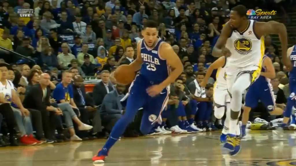 Simmons burns off Durant for epic dunk