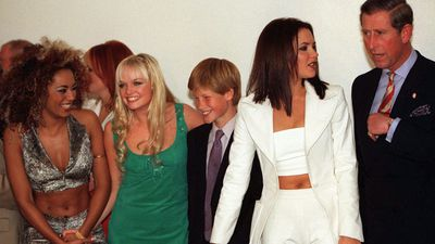 Prince Harry and Prince Charles with the Spice Girls