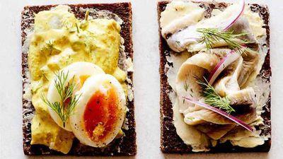 """Recipe:<a href=""""http://kitchen.nine.com.au/2017/08/04/12/58/pickled-herring-on-rye"""" target=""""_top"""">Pickled herring on rye</a>"""