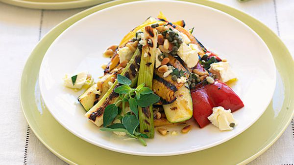 Grilled vegetable salad with oregano dressing