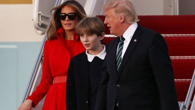 Melania Trump with husband Donald and son Baron.