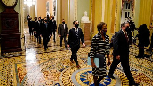 Democratic House impeachment managers as they walk through the Capitol Hill to deliver to the Senate the article of impeachment alleging incitement of insurrection against former President Donald Trump.