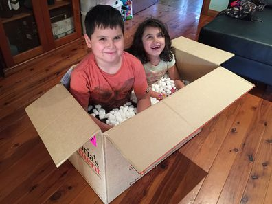 Jo Abi kids in a box