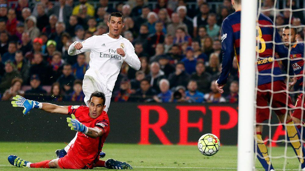 Cristiano Ronaldo scores a late goal. (AAP)
