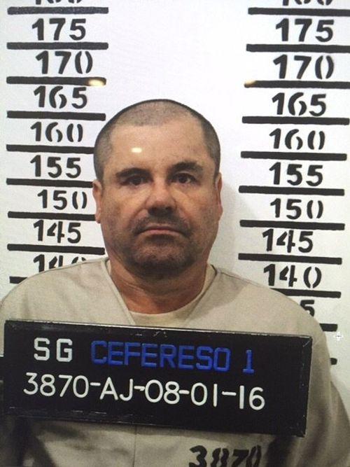 "The prison mugshot of ""El Chapo"" in Mexico in 2016."