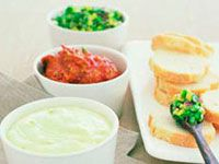 Avocado dip trio served with crusty bread