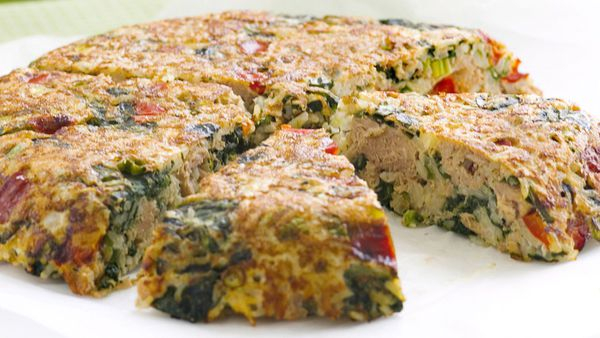 Spinach and tuna rice cake
