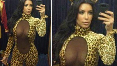Purrfect: Kim Kardashian in see-through Halloween costume