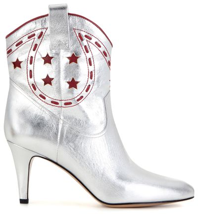 """<a href=""""http://www.mytheresa.com/en-au/metallic-leather-cowboy-boots-559917.html"""" target=""""_blank"""">Boots, $785, Marc Jacobs at mytheresa.com</a>"""