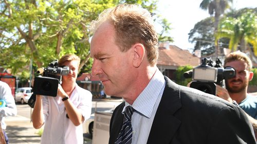 Robert Venour Dulhunty arrives at Waverly Court in Sydney this morning.