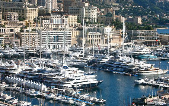 Yachts moored at the 22nd Monaco Yacht Show, the only boat show devoted exclusively to luxury yachting, at Port Hercules in Monaco. (AAP)