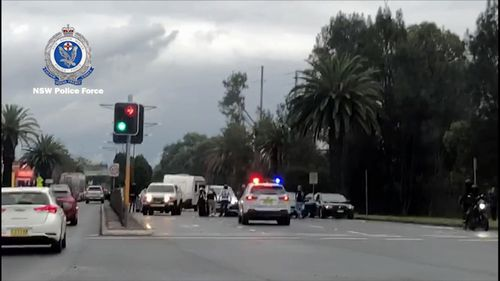 Police were on the scene within minutes, but a number of the bikies had already left. Picture: NSW Police
