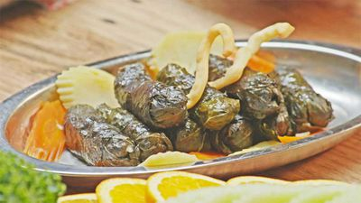 "Recipe: <a href=""https://kitchen.nine.com.au/2017/10/26/14/47/family-food-fight-the-shahrouk-sisters-vegetarian-vine-leaves"" target=""_top"">Family Food Fight: The Shahrouk Sisters' vegetarian vine leaves</a>"