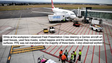 Baggage handers load a Qantas plane at Adelaide Airport, and part of a SafeWork NSW notice obtained by nine.com.au