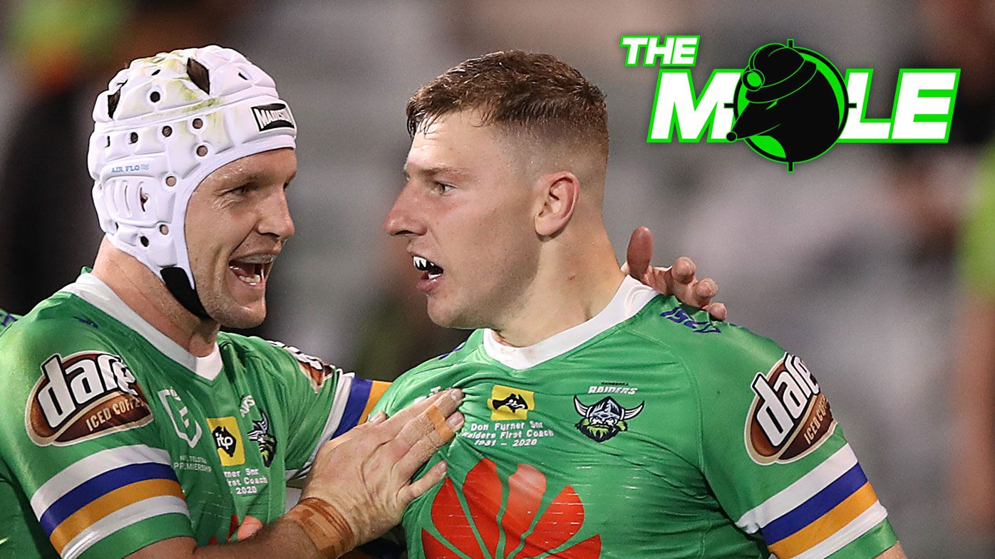 George Williams celebrates with Jarrod Croker after scoring a try during the NRL Elimination Final between the Canberra Raiders and the Cronulla Sharks at GIO Stadium on October 03, 2020.