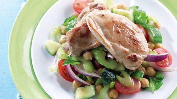 Cajun chicken and chickpea salad
