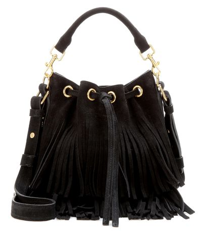 "<a href=""http://www.mytheresa.com/en-au/emmanuelle-classic-small-fringed-suede-bucket-bag-466289.html?catref=category"" target=""_blank"">Saint Laurent Emanuelle Small Suede Bucket Bag, $1434</a>"