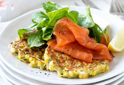 Sweet corn and coriander fritters with smoked salmon