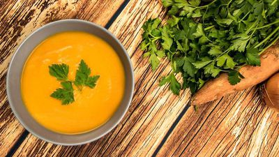 """<a href=""""http://kitchen.nine.com.au/2017/05/13/19/32/energy-boosting-sweet-potato-soup"""" target=""""_top"""">Susie Burrell's sweet potato and red lentil soup</a>"""