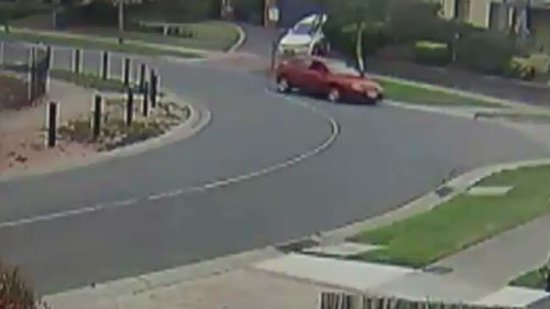 CCTV captured the moment the Mazda hit the curb. (9NEWS)