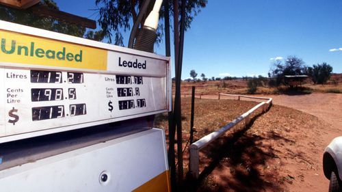 A petrol pump in rural Australia, pictured in 1999 before leaded petrol was completely phased out.