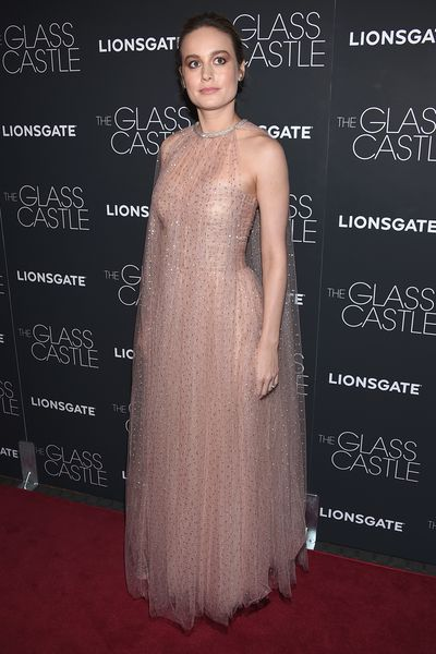 Brie Larson in Monique Lhuillier at the premier of <em>The Glass Castle</em>.