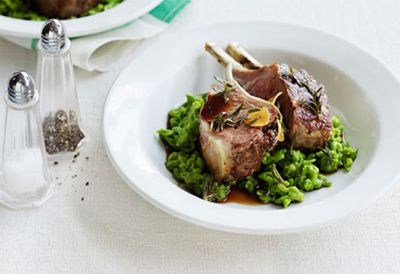 """<a href="""" /recipes/ilamb/8300456/roast-lamb-racks-with-mashed-peas """" target=""""_top"""">Roast lamb racks with mashed peas<br> </a>"""