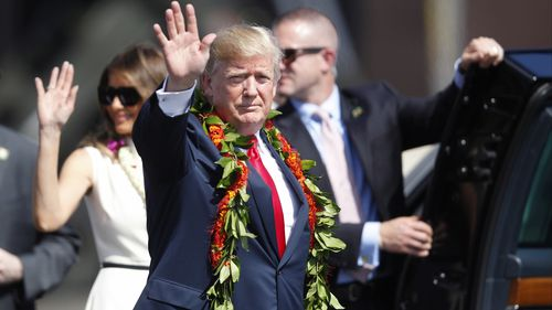 Trump has stopped off in Hawaii ahead of his tour of Asia. (AAP)