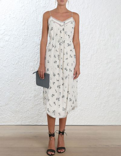 "<p>Floral Foray</p> <p><a href=""https://www.zimmermannwear.com/readytowear/clothing/dresses/pin-tuck-slip-pearl-ditsy-floral.html"" target=""_blank"" draggable=""false"">Zimmermann Pin Tuck Slip, $450</a></p>"