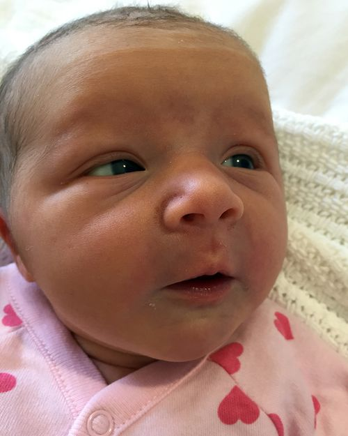 Violet May Maslin, the baby daughter of Anthony Maslin and Marite Norris, who was born on May 10, 2016.