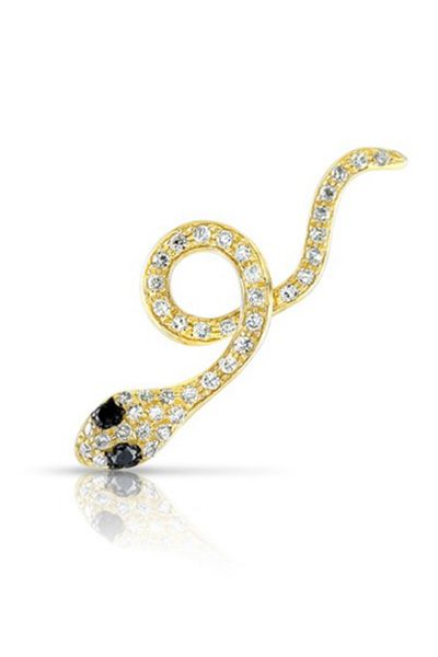 "<a href=""http://www.annesisteron.com/14kt-yellow-gold-black-diamond-snake-ear-cuff.html"" target=""_blank"">Anne Sisteron, $385 at AnneSisteron.com</a>"