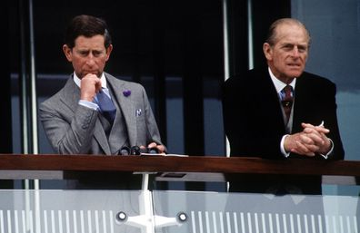 Prince Philip And Prince Charles Together On The Balcony Watching The Racing At The Derby Held At Epsom In Surrey.