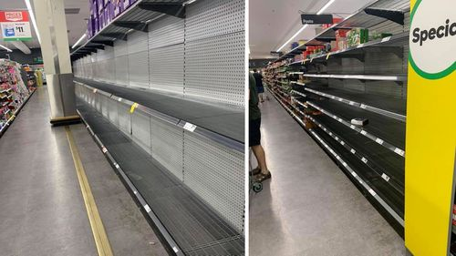 Empty shelves at a Woolworths store in Hornsby, Sydney.