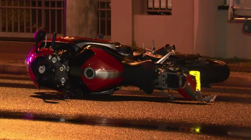 Police allege the 19-year-old rider stole a Suzuki motorbike and crashed it while overtaking cars.