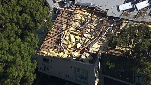A childcare centre had its roof torn off in the storm.