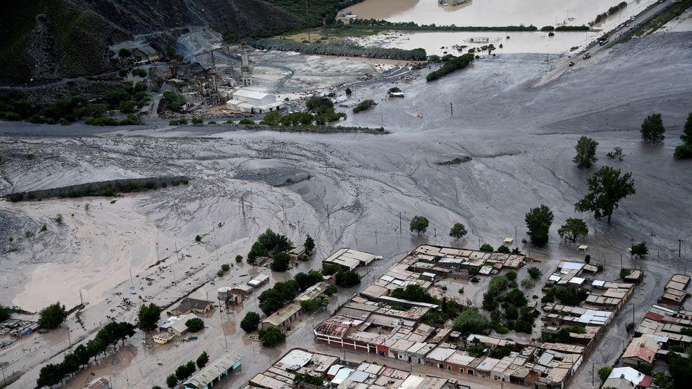 An aerial image of the landslide. (AFP)