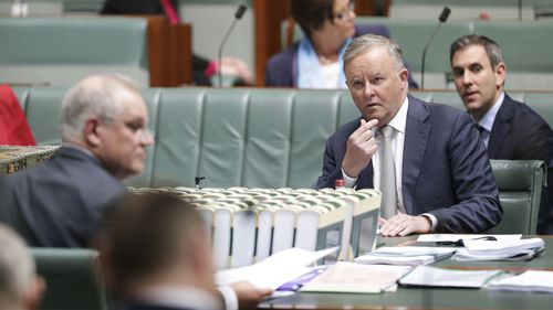 Opposition Leader Anthony Albanese looks at Prime Minister Scott Morrison.
