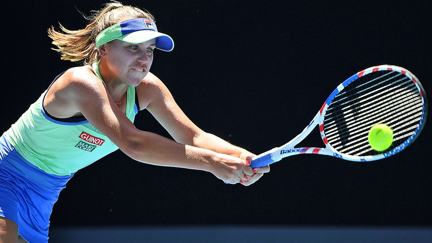 Sofia Kenin of the United States plays a backhand