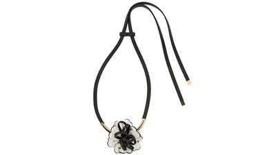 """<a href=""""http://www.net-a-porter.com/product/566951/Marni/leather-crystal-and-gold-plated-necklace"""" target=""""_blank"""">Leather, crystal and gold-plated necklace, $544.61, Marni</a>"""