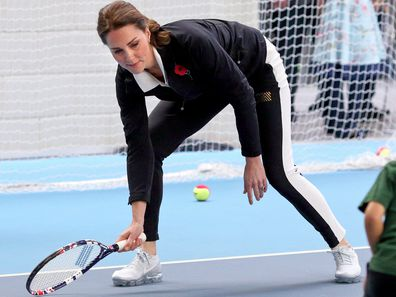 Kate Middleton, the Duchess of Cambridge plays tennis during a visit to the Lawn Tennis Association at the National Tennis Centre on October 31, 2017 in London, England. (Photo by Max Mumby/Indigo/Getty Images)
