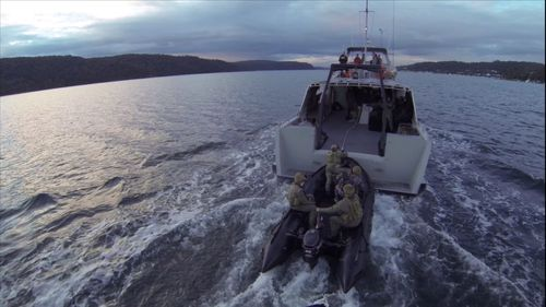 Towed by a mothership, preparing for a staged beach assault. (9NEWS)