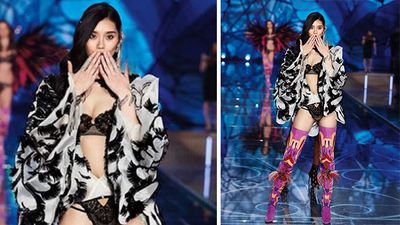 Ming Xi wore an exotic butterfly lingerie outfit. (Instagram)