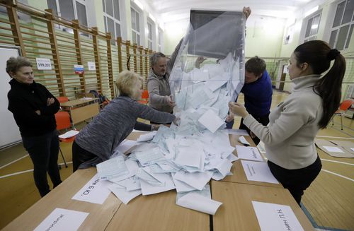 The Russian Central Election Commission is now contending with claims of vote stuffing. (AAP)