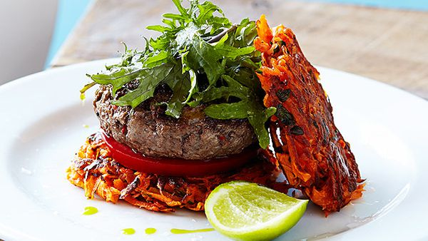 Kangaroo burgers with sweet potato fritters