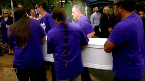 Rick Thorburn carrying the coffin of the little girl he killed. Picture: Supplied