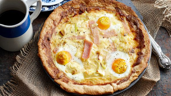 Rustic bacon and egg pie with feta