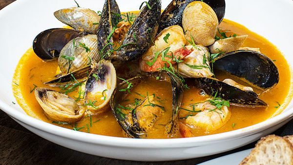 Bouillabaisse with homemade stock and rouille
