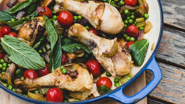 Chicken with celery, mint, pea and cherry tomato